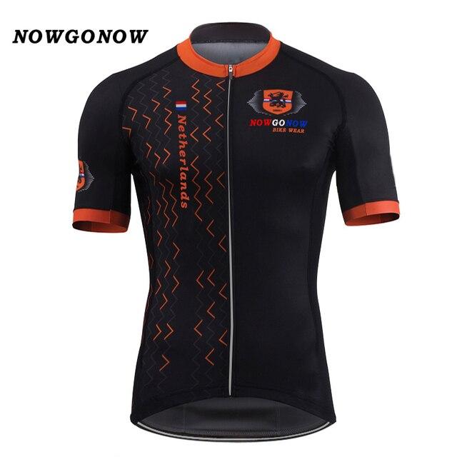 Men 2017 cycling jersey Netherlands national team flag black Dutch Holland clothing  bike wear racing riding f576e17ce