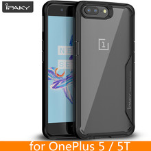 for Oneplus 5 5T Case Original IPAKY 5 5T Silicone Acrylic Hybrid Shockproof Transparent Case for OnePlus 5 5T Case(China)