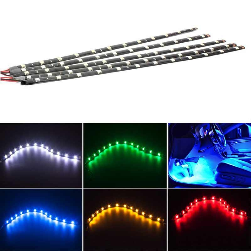 2pcs 30CM Flexible 15 LED SMD 12V Waterproof Strips 5050 Bright Lights Cars Trucks Boat Motorcycle Decorative Lights