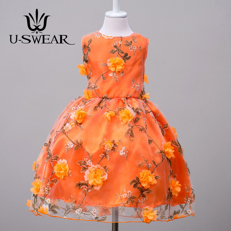 U-SWEAR 2019 New Arrival Kid   Flower     Girl     Dresses   O-neck Sleeveless   Flower   Print Appliqued Lace Chiffon Pageant   Dresses   For   Girls