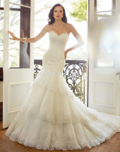 Vestido De Noiva 2015 Romantic Lace Wedding Bridal Dresses Gowns Mermaid Tiered Sweetheart Corset Back W3552