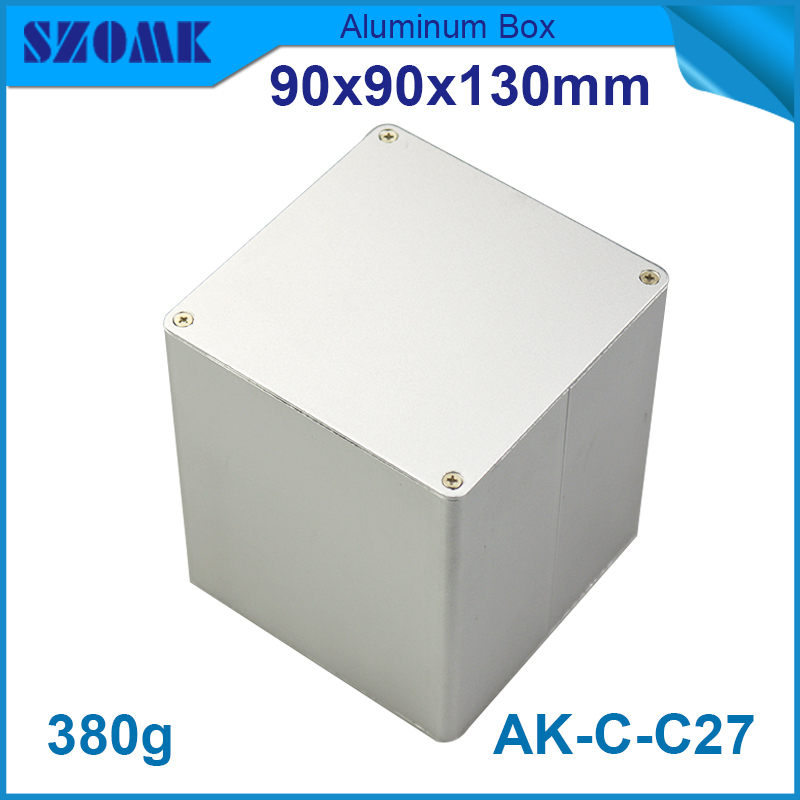 1 piece Customized aluminum junction box pcb enclosure electrical project box housing shell diy 90(H)x90(W)x130(H)mm 122 45 110mm w h l aluminum enclosure for pcb case wall mounting aluminum box aluminum extursion box junction box