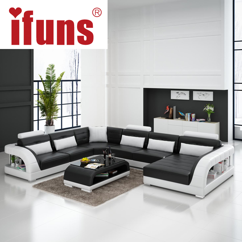 Buy ifuns large u shaped sofa white cow for Large living room sets