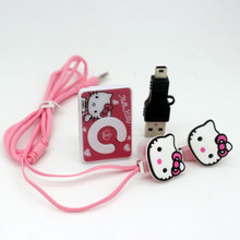wholesale Hello Kitty MP3 Music Player Clip MP3 Players Support TF Card With Hello Kitty Earphone and Mini USB