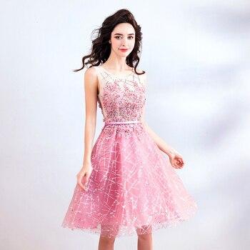 939919b7ade FOLOBE 2018 элегантные розовые короткие нарядные платья для свадьбы  аппликации из бисера Блестки Девушки Homecoming вечерние платье вечерние  платья