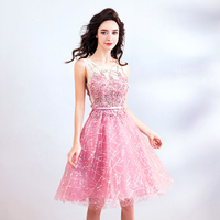 FOLOBE 2019 Elegant Pink Short Wedding Party Dresses Appliques Beaded Sequins Girls Homecoming Party Dress Formal Gowns