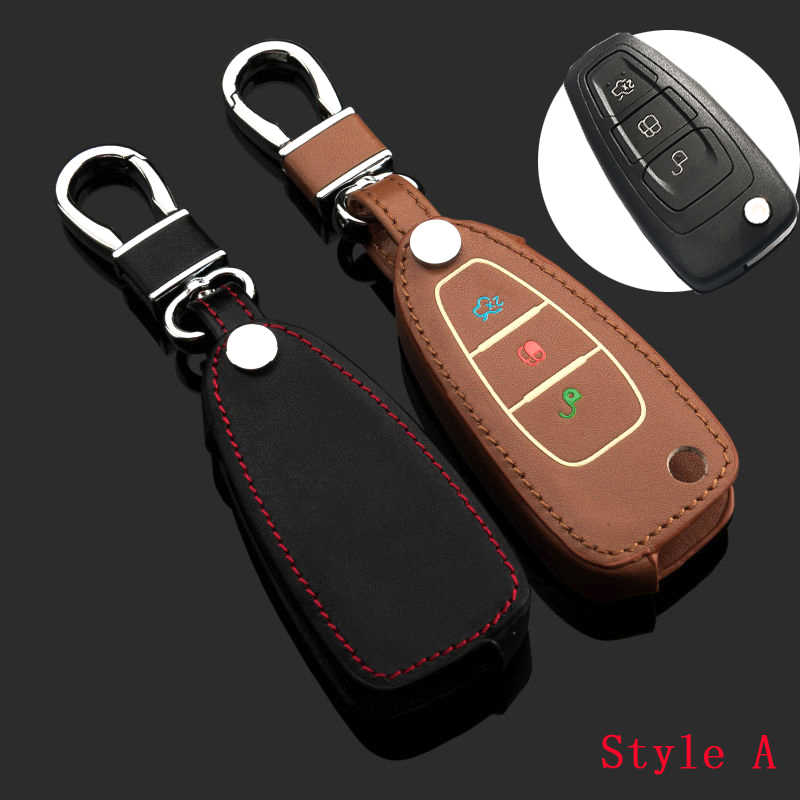 Luminous button Leather Car Auto Key Case Cover Ring Chain For Ford Focus Fiesta Ecosport kuga