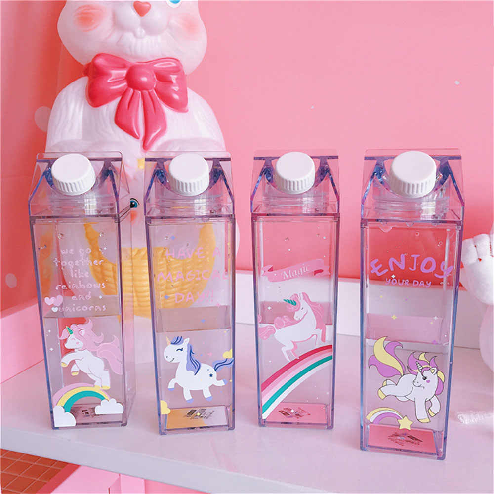 Clear water bottle Milk Box Shape Transparent Milk Carton Glass Breakfast Sout
