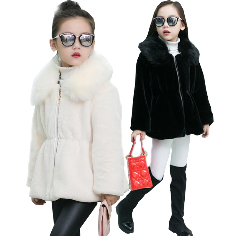 2017 Children Imitation Fox Fur Coat Baby Winter Short Warm Whole Fur Coat Big collar Fox Fur Clothes Kids Warm Jacket