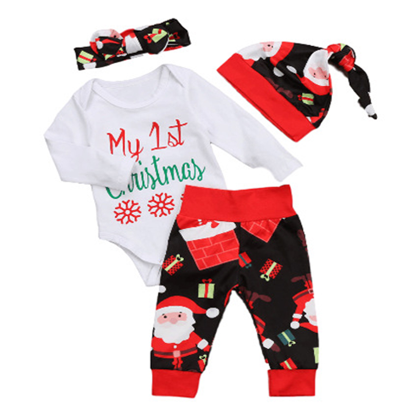 2018 Baby Xmas Clothes Set Newborn Infant Baby Boy Girl New Year Clothes Outfits My 1st Christmas Romper Pants Headband Hat Set цена