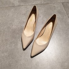 EOEODOIT Spring New Leather Pumps Med Kitten Heels V Mouth Sexy Lady Office  OL Heels Shoes 2a5c9a08289