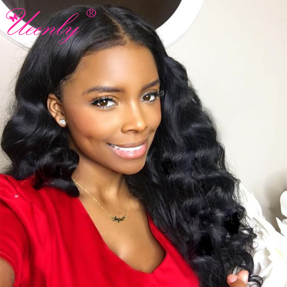 UEENLY Human-Hair-Wigs Lace-Front-Wig Deep-Wave Pre-Plucked Loose Brazilian Remy Black Women