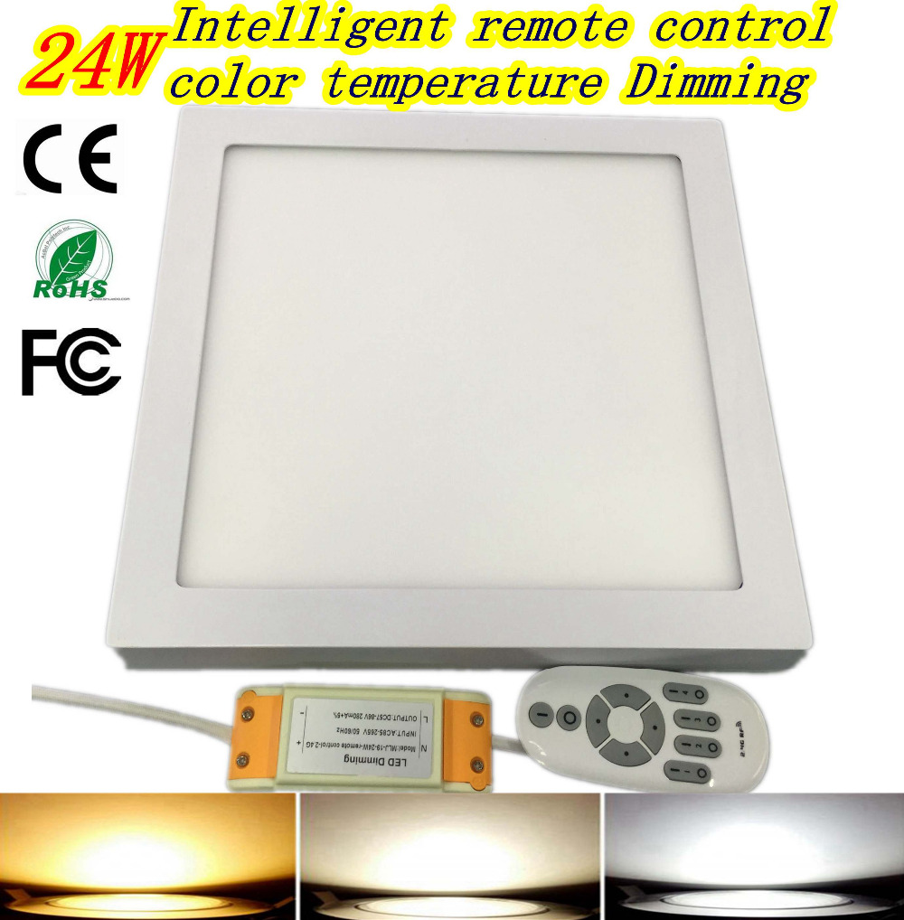 ФОТО 24W 300mmSquare LED Surface Mounted Panel Light Downlight lighting LED 2.4G panel light dimmer color temperature