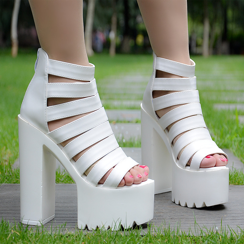 European and American style <font><b>sexy</b></font> women's <font><b>sandals</b></font> <font><b>2018</b></font> summer new thick with ultra high heel <font><b>sandals</b></font> simple fashion women's shoes image