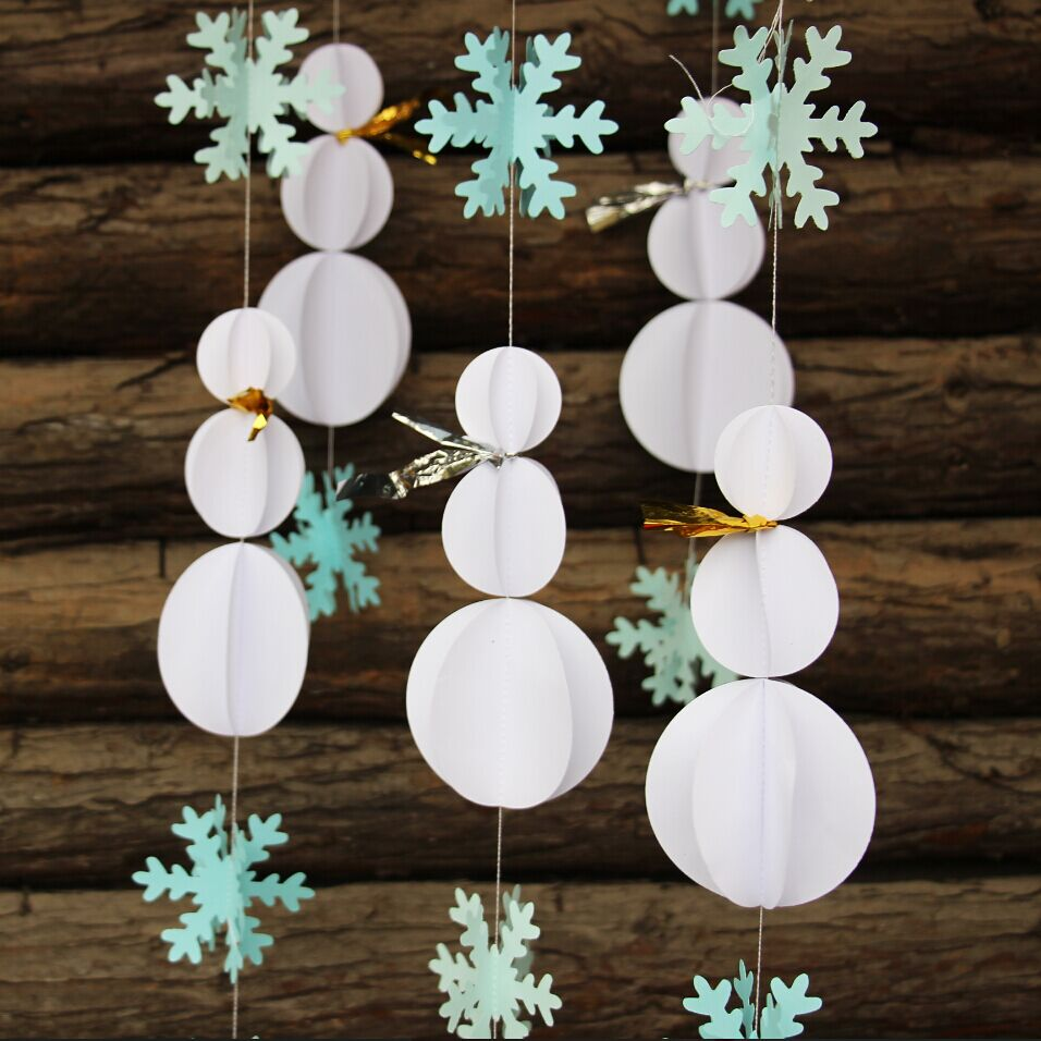 Snowman decorations snowflake garland winter party decor for Paper decorations diy