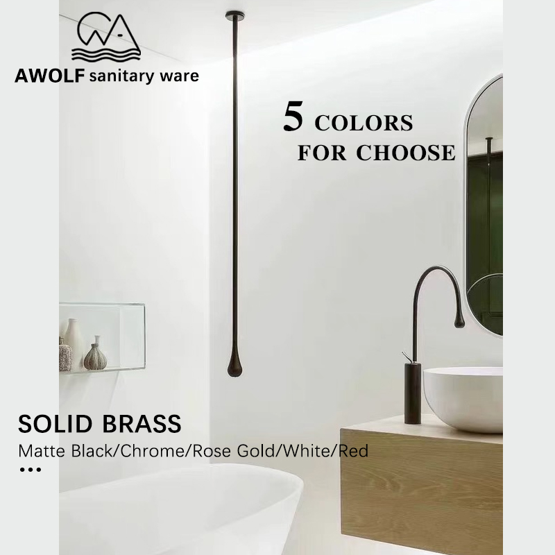 Wall Mounted Bathroom Hang Bathtub Faucet Mixer Tap Ceiling Basin Faucet Solid Brass Spout Matte Black Chrome Gold White ML8047