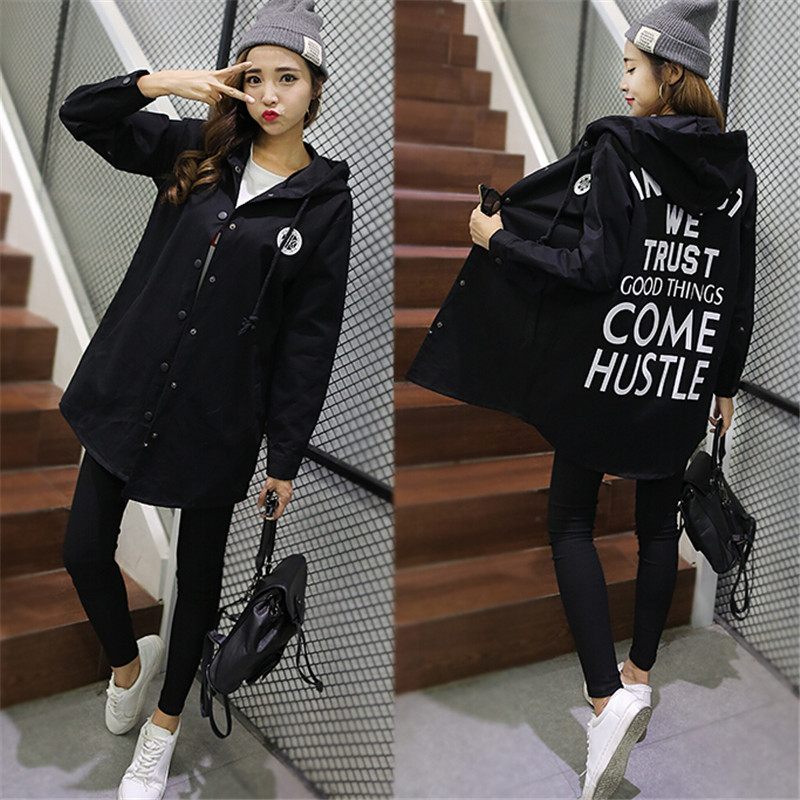 Spring And Autumn Ladies' Outerwear Loose All-match Hooded   Trench   Straight Letter Female Medium-long Single Coat Breasted Cotton