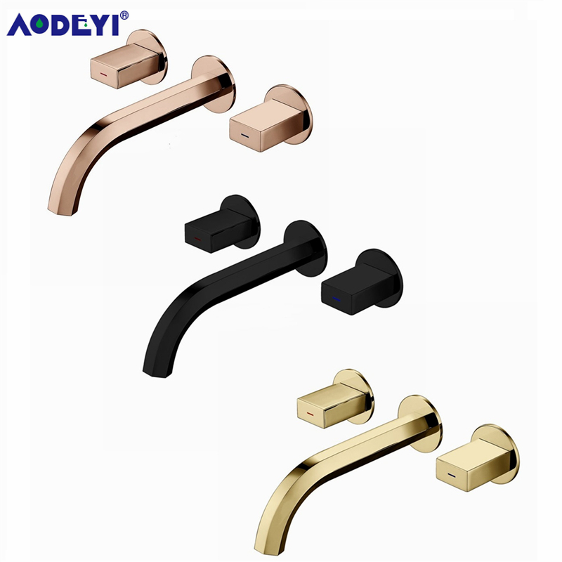 Brass Double Handle Wall Mounted Bathroom Sink Faucet Hot Cold Basin Faucet Basin Tap Rotation Spout