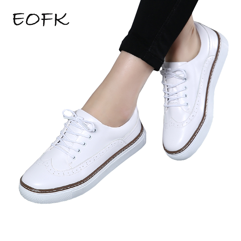 EOFK Spring Autumn Women Flats Shoes Woman Casual Patent Leather White Brogue Shoes Lace up Women's Flat Shoes phyanic brand flat british style oxford shoes for women patent leather lace up ladies woman flats casual shoes 2018 spring