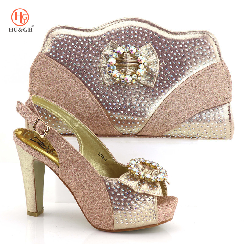 2018 New Champagne Color Shoe And Bag Set African Wedding Shoe And Bag Sets Italy Women