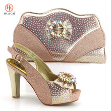 2018 New Champagne Color Shoe And Bag Set African Wedding Shoe And Bag Sets  Italy Women 11512913ff22