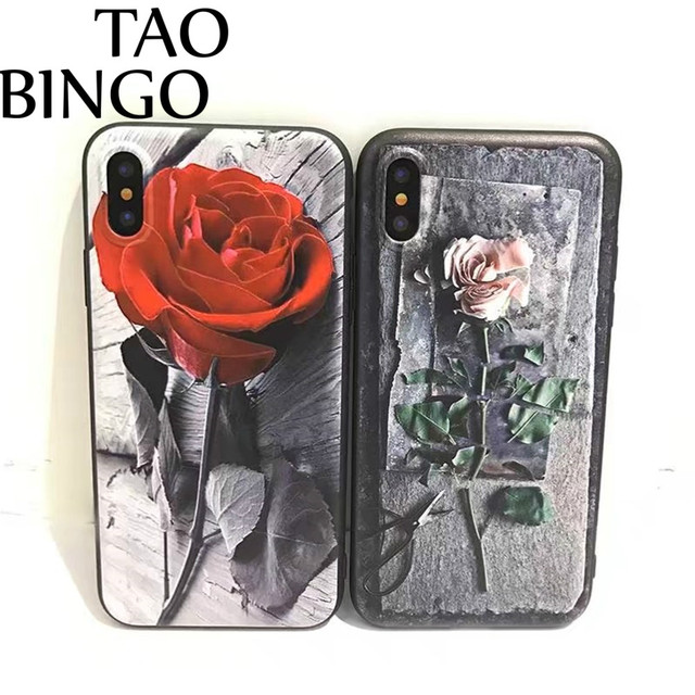 super cute e4b55 1f9e9 US $4.28 |Red Rose Flower phone case For iphone X case For iphone 7 case  For iPhone 8 8 Plus 7 7 Plus 6 6S Plus Girl Style Fundas Cover-in Fitted ...