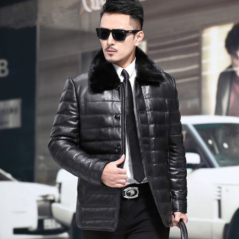 New Haining genuine sheepskin Mink Collar down jacket for middle aged and old men 8036P950