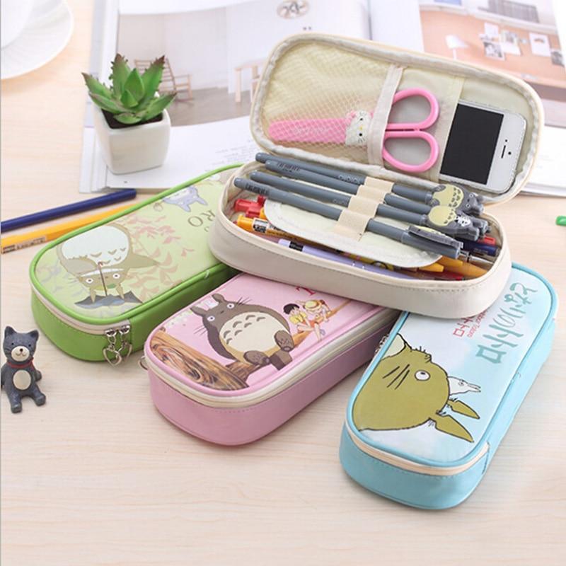 Kawaii Totoro PU leather pencil case Cute school pencil case for girls Big capacity zipper stationery pouch office school supply metallic pu pencil case