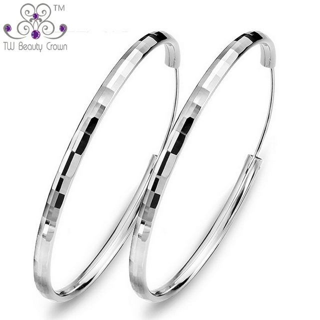 d02d3691e Factory Price Real 925 Sterling Silver Fashion Wholesale Exaggerated Big  Round Hoop Earrings Lots For Women Party Rock Jewelry