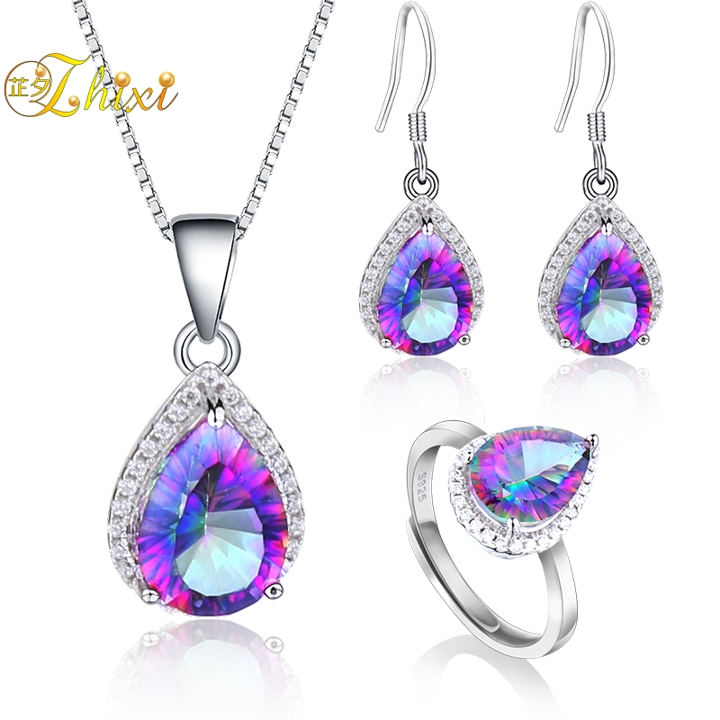 ZHIXI Topaz Earrings Pendant Necklace Jewelry Sets 925 Sterling Silver Water Drop Gemstone Fine Jewelry Gift For Women [T236] a suit of gorgeous water drop alloy necklace and earrings jewelry for women
