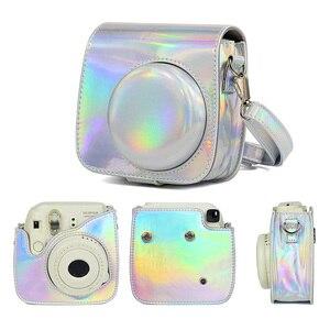 Image 3 - Dla Fujifilm Instax Mini 8/9 Film natychmiastowy futerał na aparat torba, PU skórzany pokrowiec z paskiem na ramię