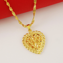 Luxury Wedding Necklace 24K Gold Filled Heart Charm Pendant Necklace for Women Fashion Jewelry Accessories