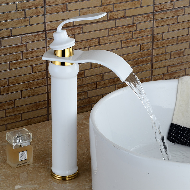 Basin Faucets Golde Brass Waterfall Bathroom Sink Faucet Single Lever Square Spout Toilet WC Hot Cold Mixer Water Taps LH-16870