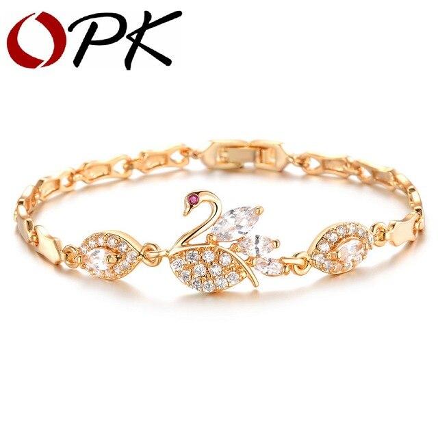 OPK Luxury AAA Zircon Crystal Women Bracelets Elegant Swan Design