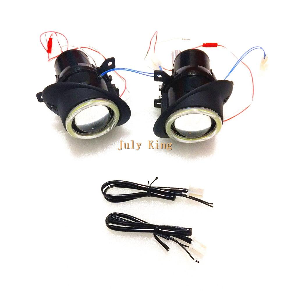 July King Front Bumper Bifocal Lens Fog Lamp With LED COB Angel Eye DRL case for