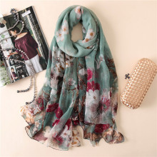 Дизайн шелковый шарф Крокодил Специальный морщины печати для женщин платок сплошной шарф большой размер длинный платок Бандана Хиджаб