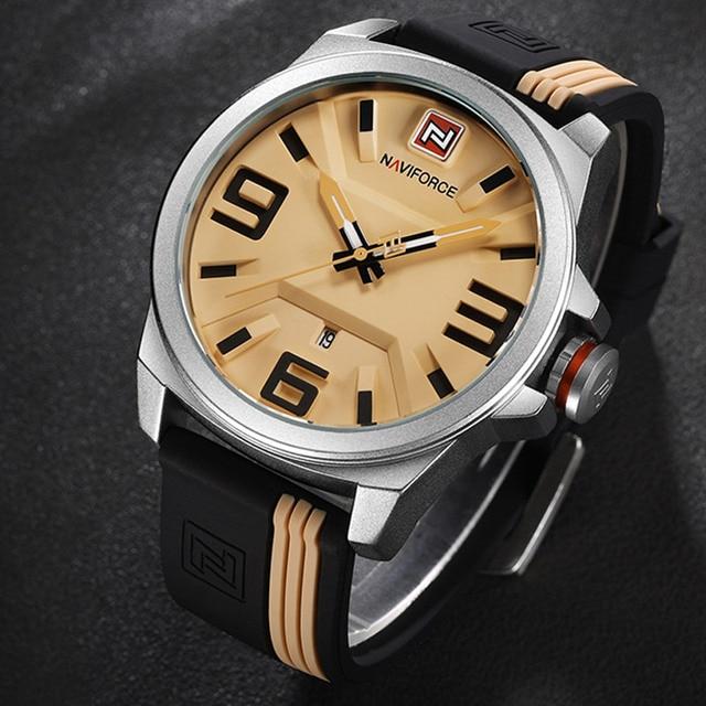 7a84333956f Homens relógios marca naviforce militar reloj de quartzo analógico 3d rosto couro  exército moda relógio sports