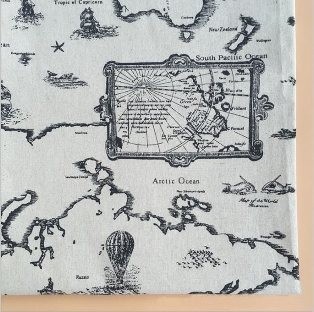 World map pattern linen cotton printed fabric diy hand printing and world map pattern linen cotton printed fabric diy hand printing and dyeing for tableclothsofa gumiabroncs Image collections