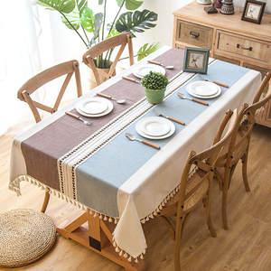 Linen Tablecloth Decorative Tassel Rectangular Wedding Waterproof Plaid with Thick