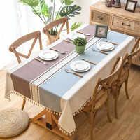 Nappe en lin décorative à carreaux avec gland imperméable à l'eau à l'huile épaisse rectangulaire couverture de Table à manger de mariage nappe de thé
