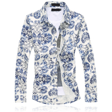 2018 Autumn New Fashion Chinese style blue and white porcelain print Shirts Men Slim Casual Long Sleeve Asian Size Male