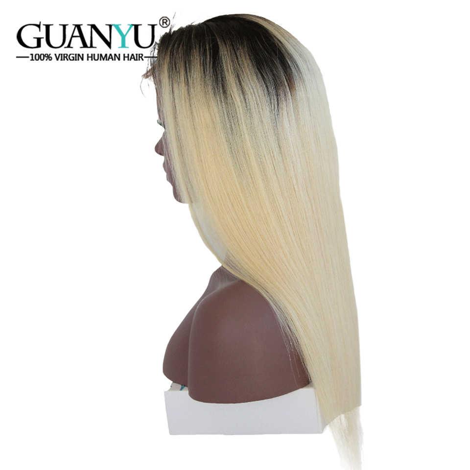 Guanyuhair Омбре #1B/613 блонд предварительно сорвал 360 кружевных фронтальных париков прямые бразильские Remy человеческие волосы 150% Плотность