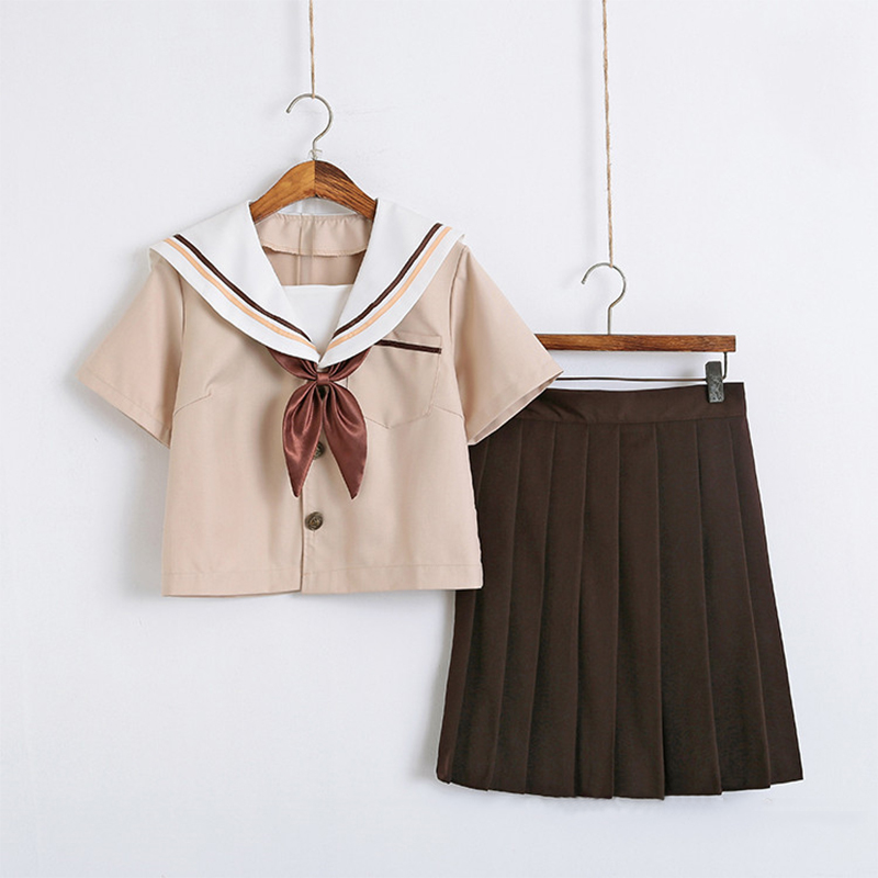 New Arrival Sailor School Uniform Sets JK School Uniforms For Girls Khaki Shirt And Brown Skirt Suits Student Cosplay S-2XL