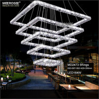 Square Crystal LED Ceiling Light Fixture 5 Squares Crystal Stair Lighting For Hotel Hallway Villa