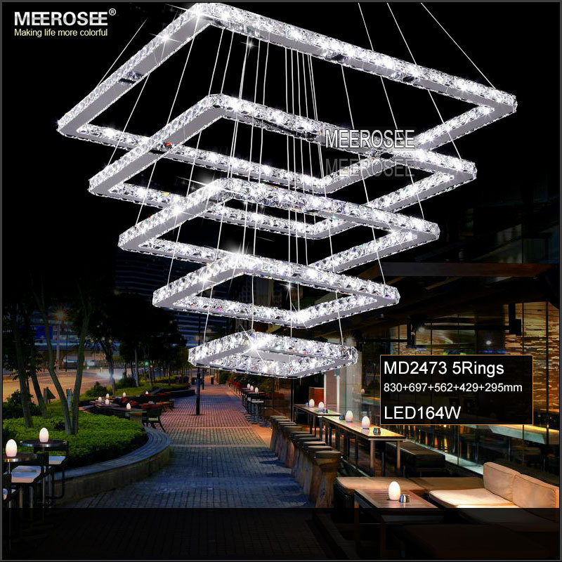 Aliexpress.com : Buy Square Crystal LED Pendant Light Fixture Rectangle  Crystal Hanging Lamp 5 Squares Crystal Stair Lighting For Hotel Hallway  Villa From ...
