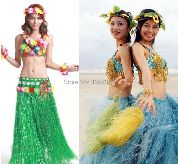 Hawaiian  Fancy Dress Costume Grass Skirt Summer Beach