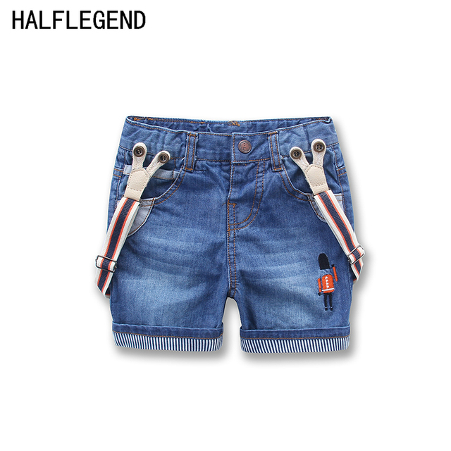 Boys Bib Pants Children Girls Baby Boys Summer Denim Shorts Embroidery Cartoon Jeans Trousers Kids Jeans  Children's Clothing