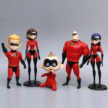 Lensple 5pcs 6pcs 12pcs/set Super man The incredibles 2 Mr. Dash Parr Jack Elastigirl Action Figure Toys