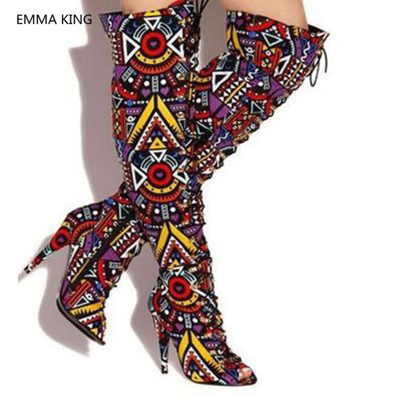 Runway Mixed Color Women Over The Knee Peep Toe Boots Cross Tied Roman Party Shoes Woman Sexy High Heels Lady Thigh High Boots