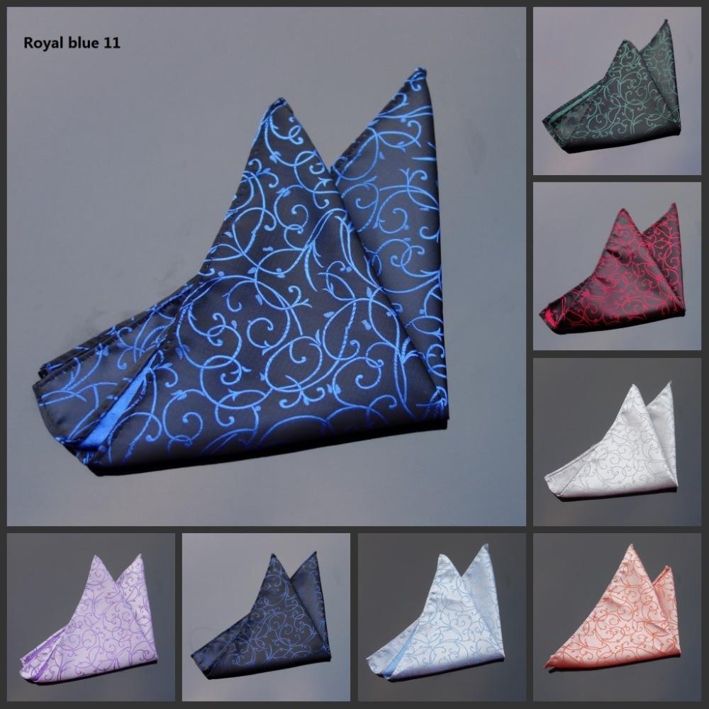 Ikepeibao Royal Blue Floral Handkerchief ,Orange Men's Pocket Square Hanky, Jacquard Woven Effect, Perfect For Weddings